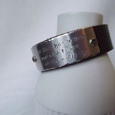 "Lovely Handmade Personalised ""Be the change ..."" Leather Statement Cuff Bangle"